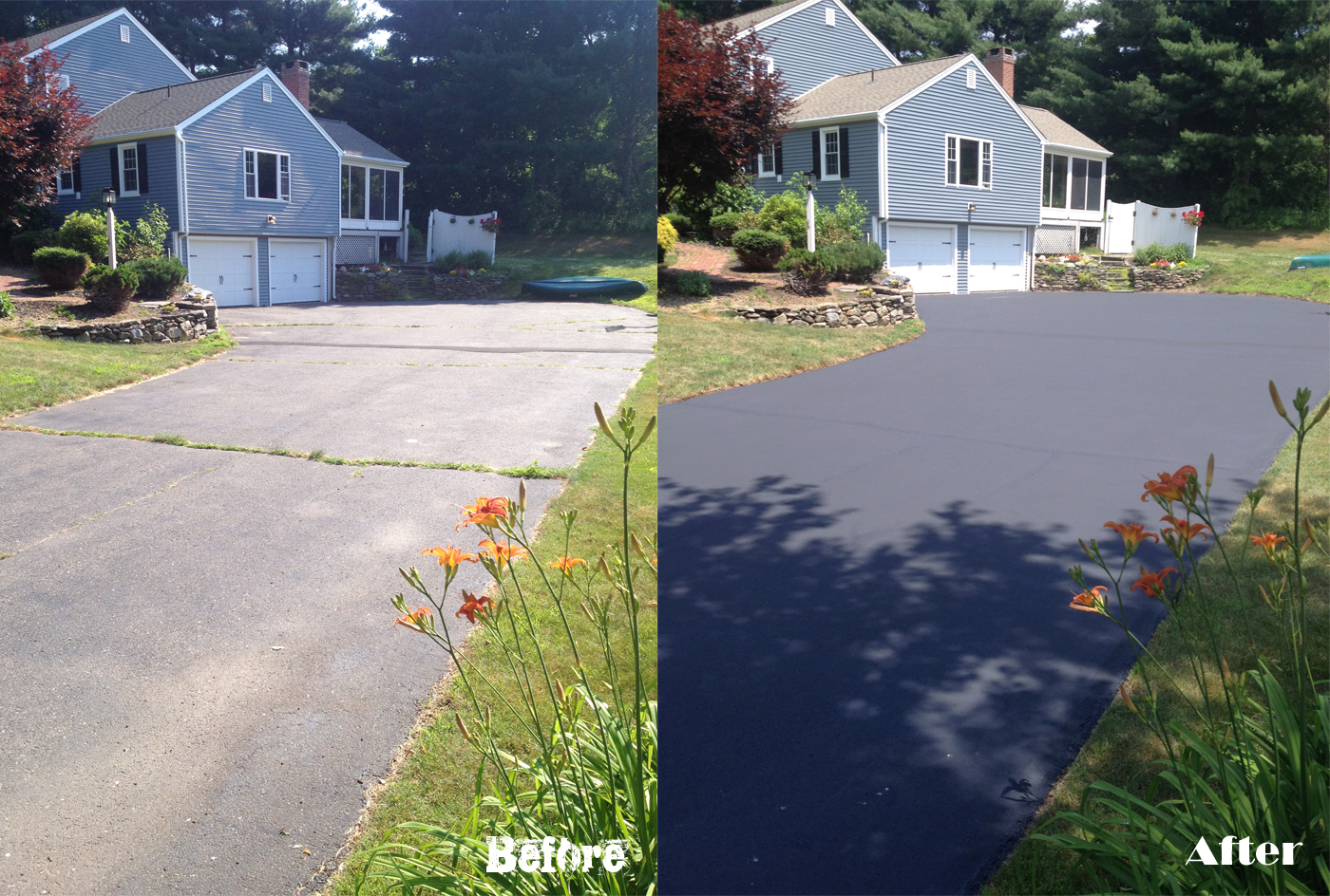 Before and After: Residential Driveway Seal Coat