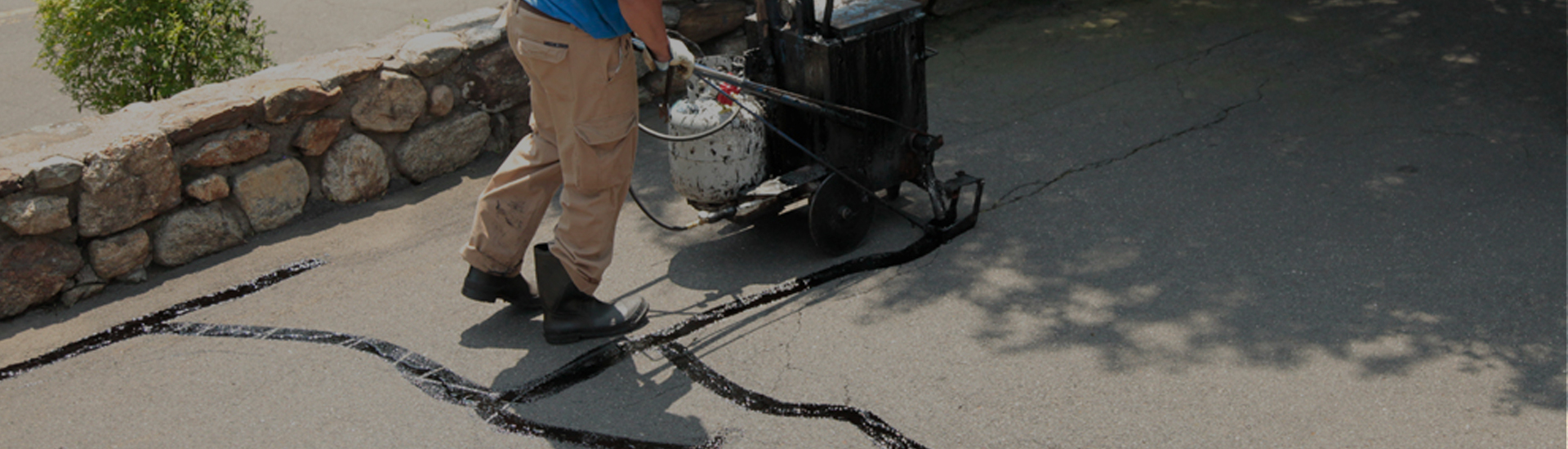 Cracks are repaired using hot, liquified rubber